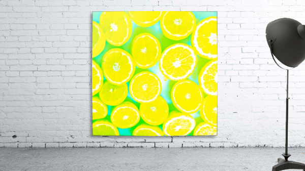 juicy yellow lemon pattern abstract with green background