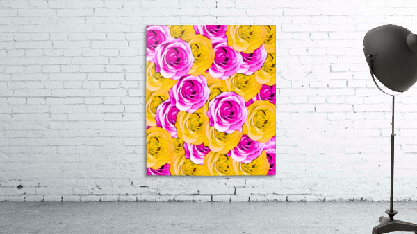 pink rose and yellow rose pattern abstract background