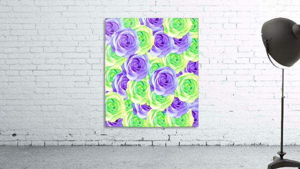 purple rose and green rose pattern abstract background