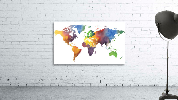 Colorful Map Of The World Watercolor