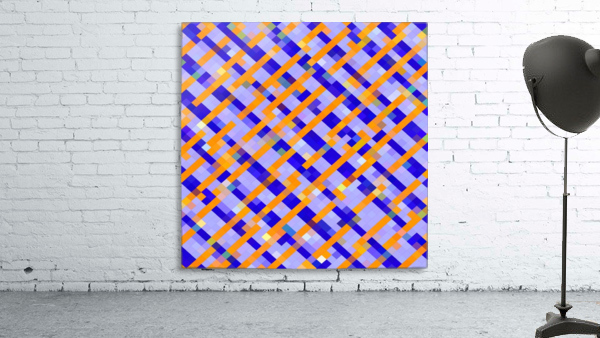 geometric pixel square pattern abstract background in orange blue purple