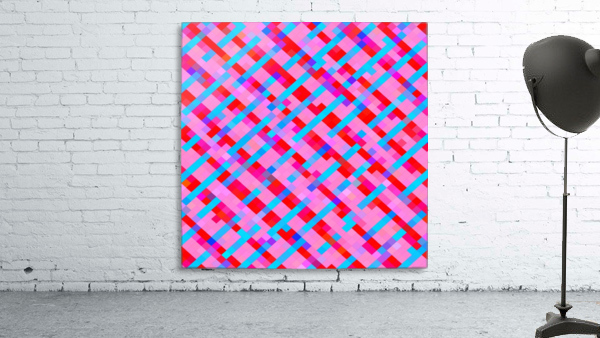 geometric pixel square pattern abstract background in pink blue red