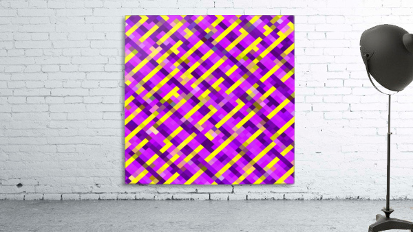 geometric pixel square pattern abstract background in pink purple yellow