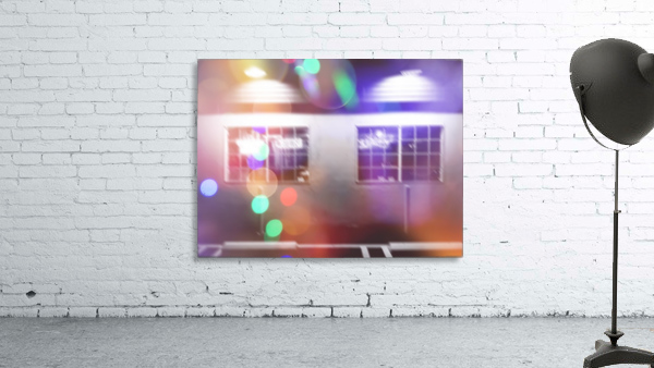 restaurant in the city with the colorful night light bokeh abstract