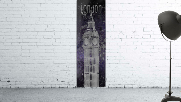 Graphic Art LONDON Big Ben| ultraviolet & silver