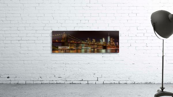 MANHATTAN SKYLINE & BROOKLYN BRIDGE Idyllic Nightscape | Panoramic