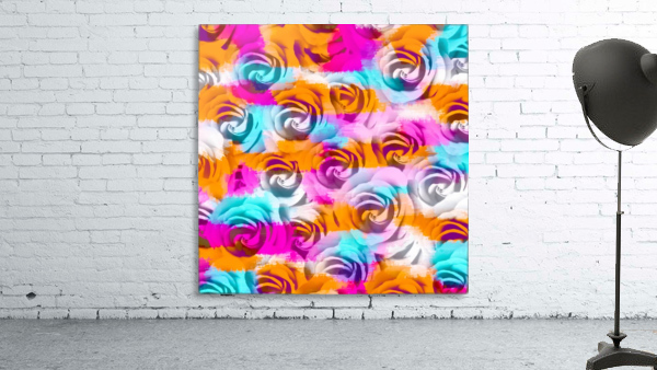 closeup rose texture pattern abstract background in pink orange blue