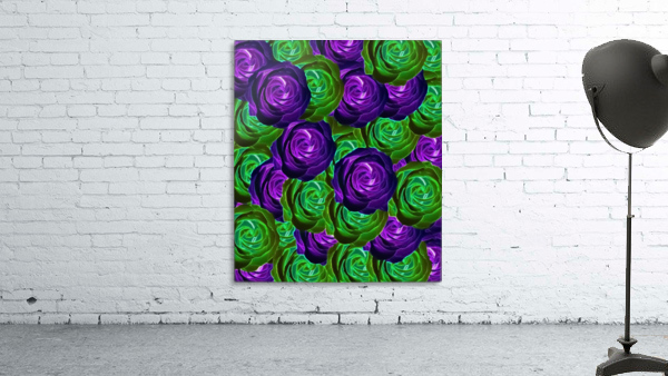 blooming rose texture pattern abstract background in purple and green