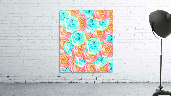 blooming rose texture pattern abstract background in red and blue