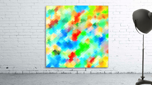 psychedelic geometric pixel abstract pattern in blue green red orange