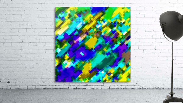 psychedelic geometric square pixel pattern abstract in green yellow blue purple
