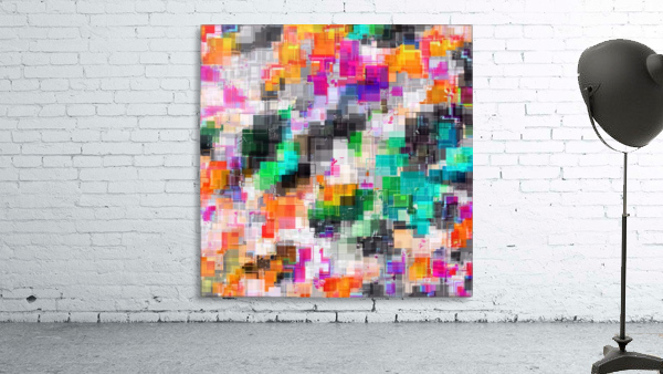 psychedelic geometric square pixel pattern abstract in orange green pink blue