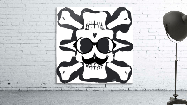 old funny skull and bone art portrait in black and white
