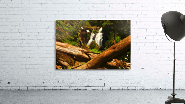 Tree Trees Fallen accross a Stream and Waterfall Digital Painting C010300_1114915
