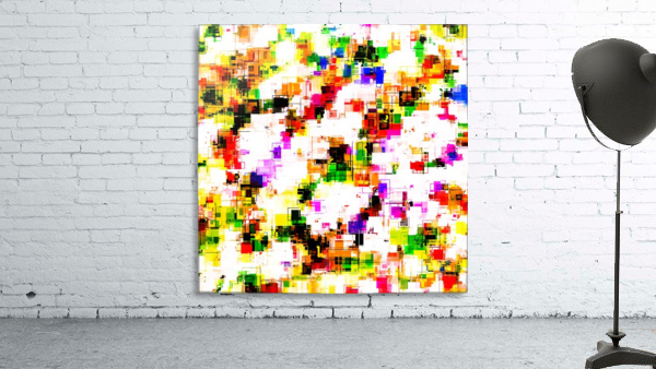 psychedelic geometric square pixel pattern abstract background in green red pink yellow