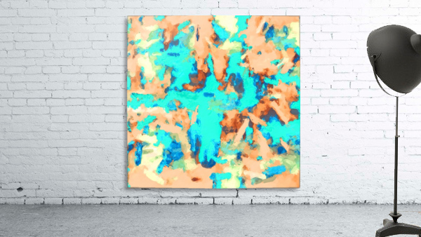 splash painting texture abstract background in blue and orange