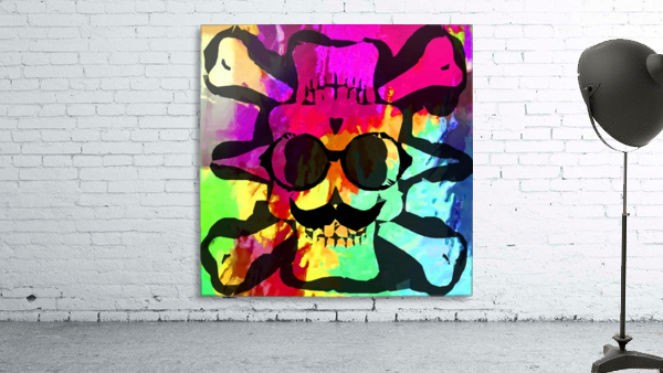 old vintage funny skull art portrait with painting abstract background in red purple yellow green