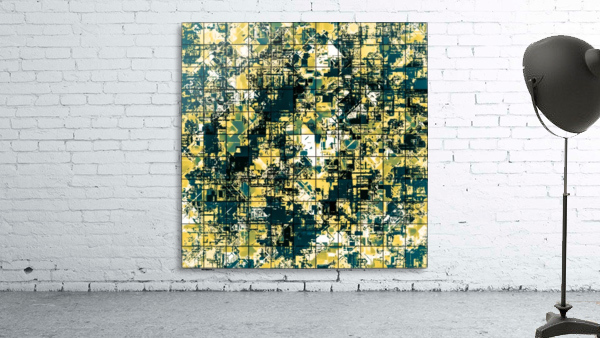 psychedelic geometric square pattern abstract background in green and yellow