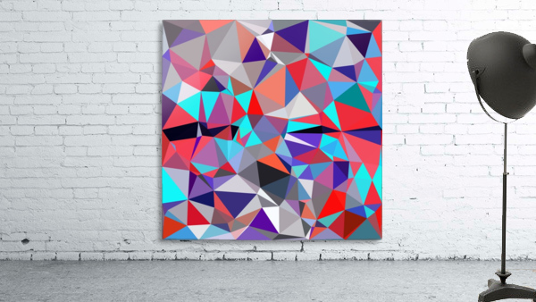 geometric triangle polygon pattern abstract background in red blue purple