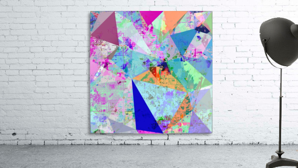 vintage psychedelic triangle polygon pattern abstract in blue pink green yellow