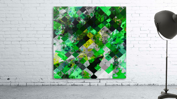 vintage psychedelic geometric square pixel pattern abstract in green and yellow