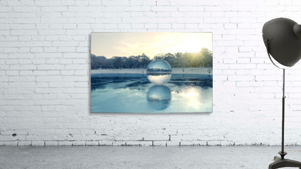 crystal ball on frozen lake