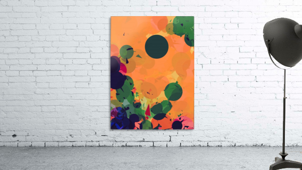 geometric circle and triangle pattern abstract in green orange red