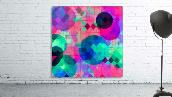 geometric square pixel and circle pattern abstract in pink blue green