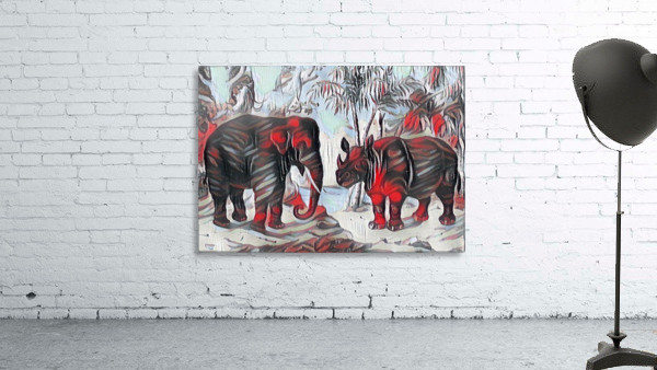Elephant And Rhinoceros_On A Cold Rain_OSG