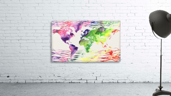Colorful Wave Of Watercolour World Map