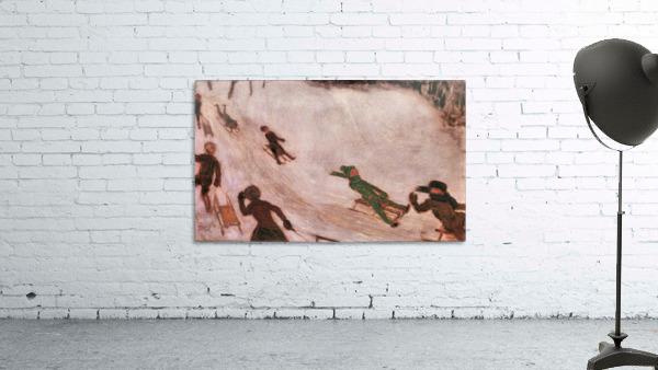 Children sledding by Franz von Stuck