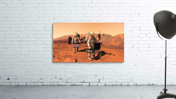 Artists concept of astronauts setting up weather monitoring equipment on Mars.