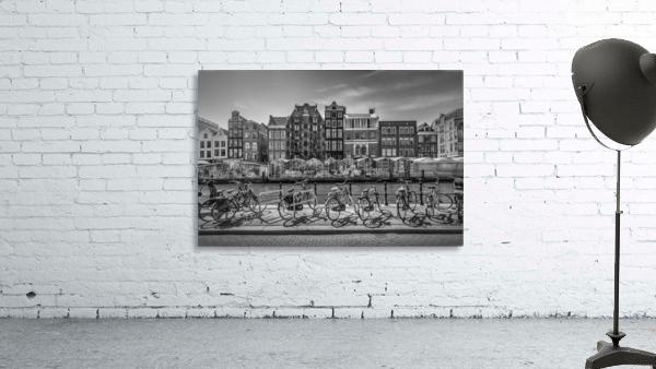 AMSTERDAM Singel Canal with Flower Market | monochrome