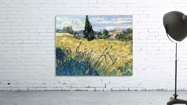 Green wheat field with cypress by Van Gogh