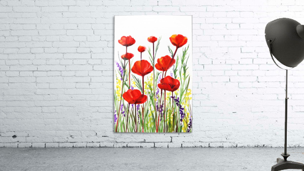 Red Poppies And Lavender Field Watercolor