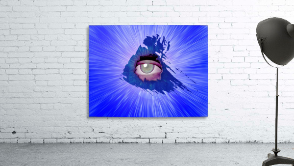 Eye behind wall crack