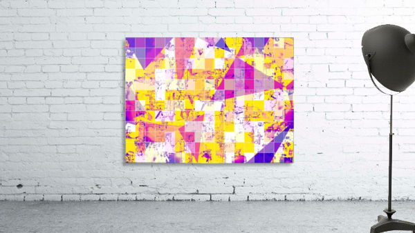 geometric square and triangle pattern abstract in pink yellow blue