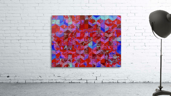 geometric square and triangle pattern abstract in red and blue