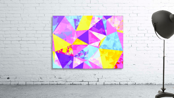 geometric triangle polygon pattern abstract in pink purple blue yellow