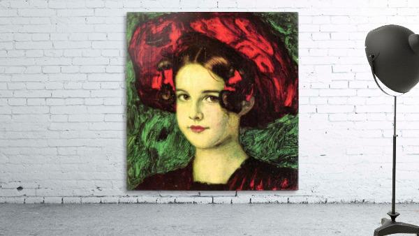 Mary with red hat by Franz von Stuck