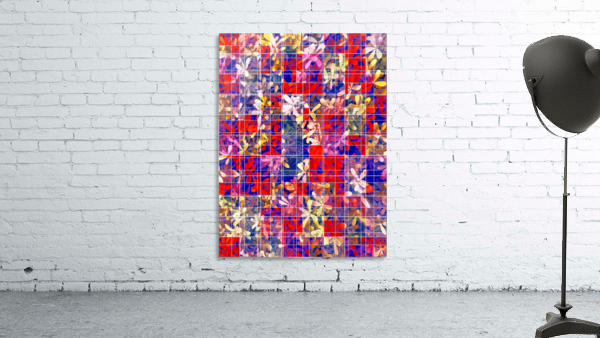 blooming flower with square pattern abstract in red and blue
