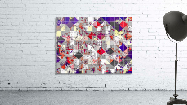 geometric square pixel pattern abstract in purple orange red