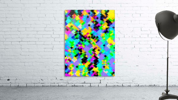 geometric square pixel pattern abstract in blue green yellow pink
