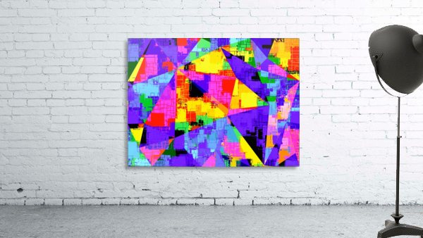 geometric triangle abstract background in purple blue pink yellow