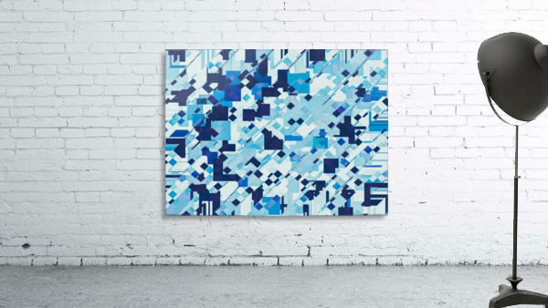 geometric square pixel pattern abstract background in blue