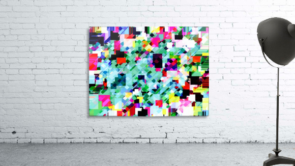 geometric square pixel pattern abstract in green pink blue yellow