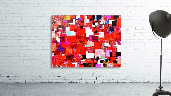 geometric square pixel pattern abstract in red blue pink