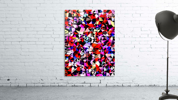 geometric triangle pattern abstract in red pink black blue