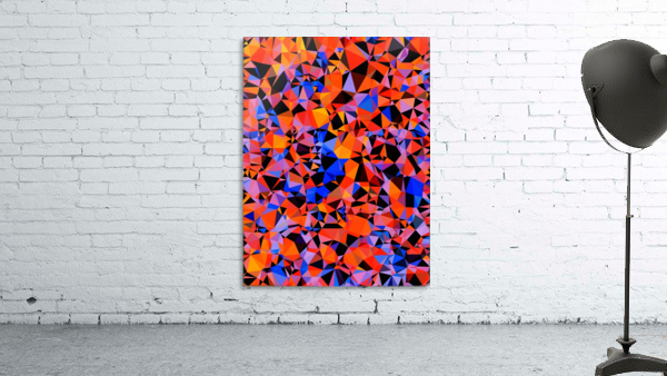 geometric triangle pattern abstract in blue orange red