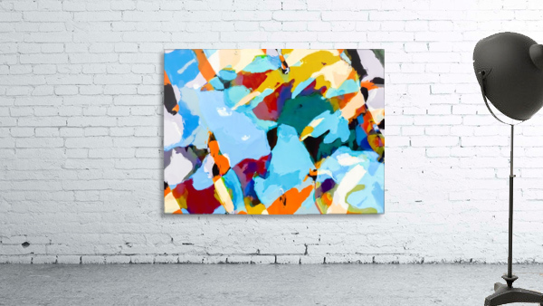 painting texture abstract in blue orange green yellow